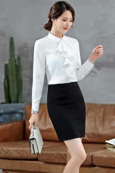 Áo sơ mi bèo váy công sở nữ - Ảnh 1 - 99+ Mẫu đồng phục công sở nữ tự tin khoe vóc dáng