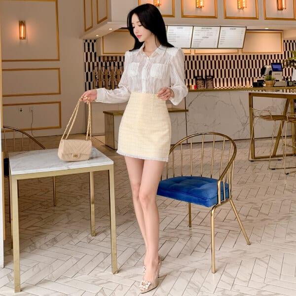 Chân váy Tweed ngắn xinh xắn - F1000CVN - Ảnh 1