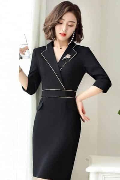 Đầm công sở giả vest dáng suông tay lửng - 99+ Mẫu đồng phục công sở nữ tự tin khoe vóc dáng