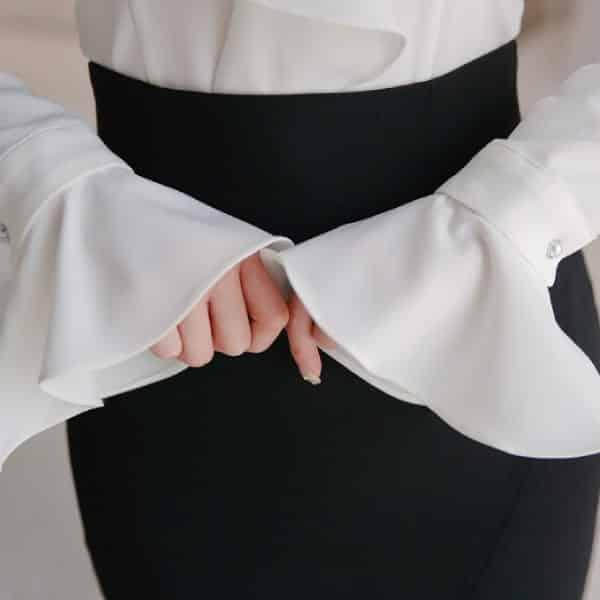 Áo kiểu phối bèo măng sét tay chuông - F1001AK - Ảnh 3