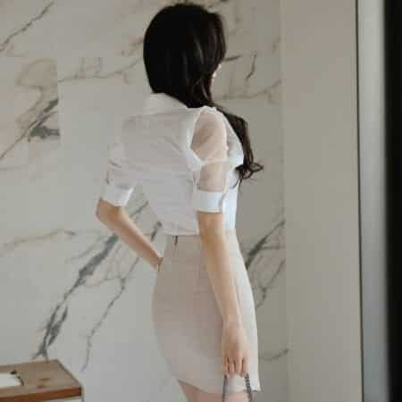 Chân váy body quạt xéo - F1006CVN - Ảnh 3