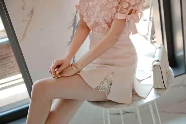 Chân váy xẻ kiểu phối ren - F1003CVN - Ảnh 5