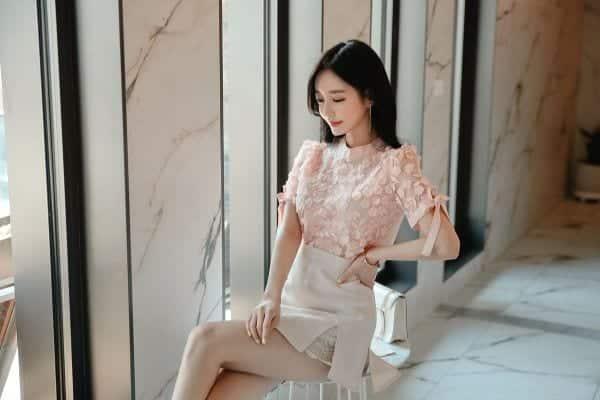Chân váy xẻ kiểu phối ren - F1003CVN - Ảnh 6