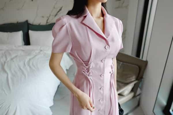 Đầm sơ mi thiết kế cổ vest thắt eo - F1003DS - Ảnh 5