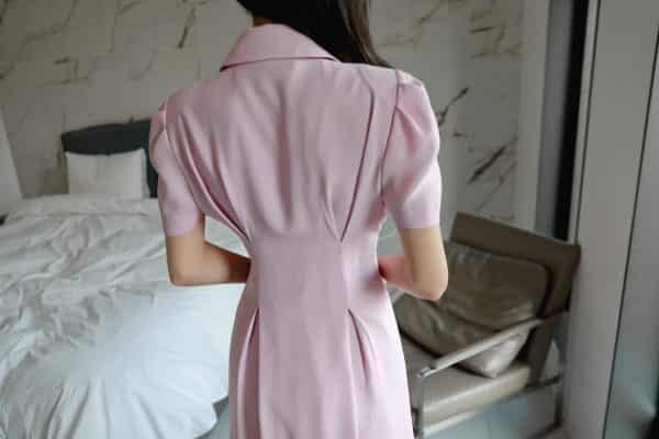 Đầm sơ mi thiết kế cổ vest thắt eo - F1003DS - Ảnh 6