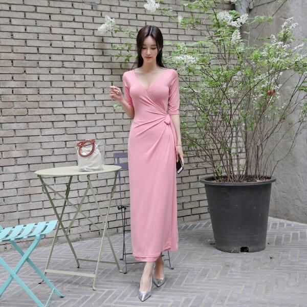 Đầm suông đắp chéo nhún eo - F1002DS - Ảnh 1