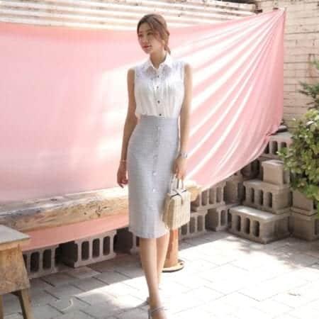 Chân váy công sở dài xẻ trước - F1003CVD - Ảnh 3