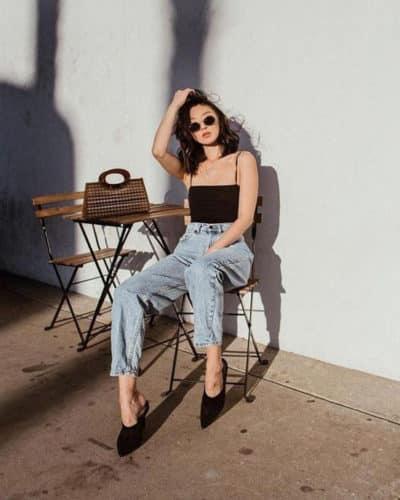 Áo hai dây + Quần jeans cổ điển
