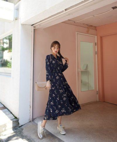 Váy xanh hoa cổ V dáng dài thích hợp cho nàng nào béo chút sẽ đẹp nhất