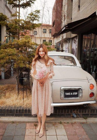 Váy hồng pastel tay bèo dài hai lớp voan xinh xắn