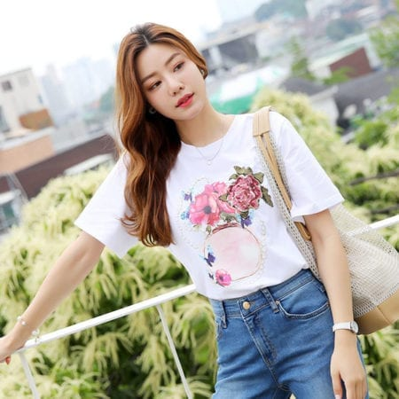 Áo thun tay ngắn cổ tròn hình hoa hồng - F1002AT - Ảnh 1