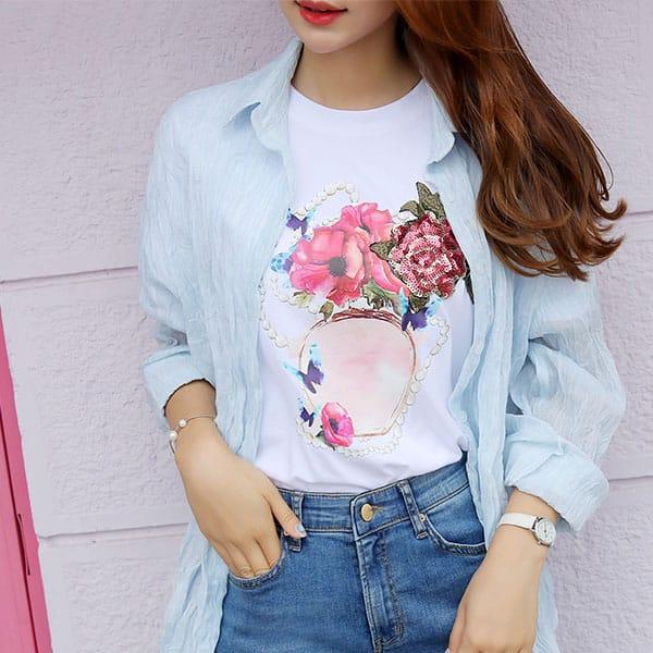 Áo thun tay ngắn cổ tròn hình hoa hồng - F1002AT - Ảnh 4