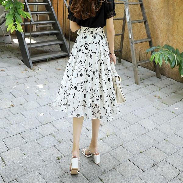 Chân váy voan trắng họa tiết hoa đen - F1004CVD - Ảnh 3
