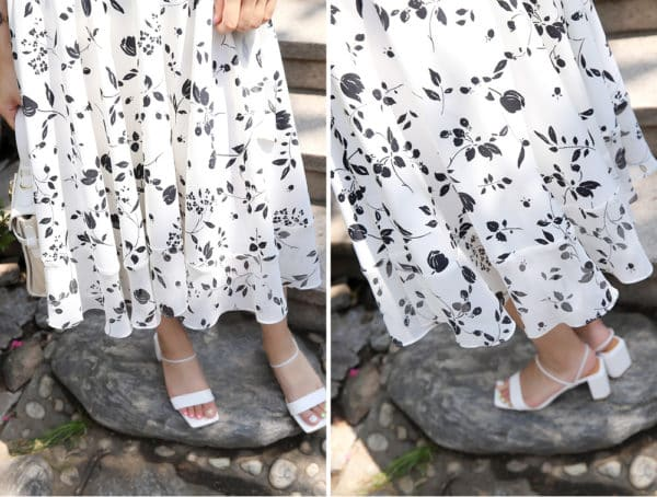 Chân váy voan trắng họa tiết hoa đen - F1004CVD - Ảnh 5