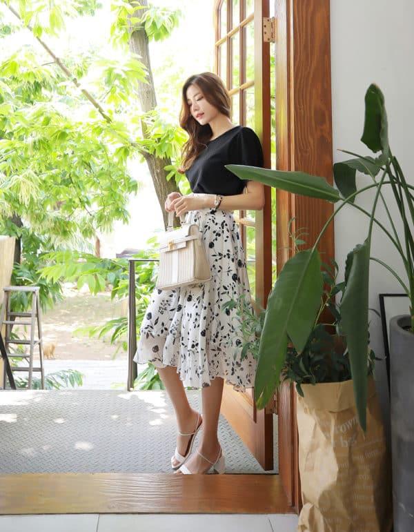 Chân váy voan trắng họa tiết hoa đen - F1004CVD - Ảnh 7