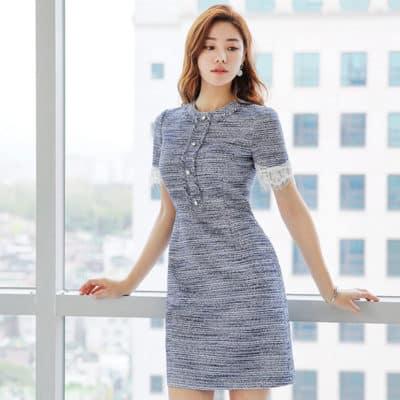 Đầm tweed suông tay ngắn phối ren