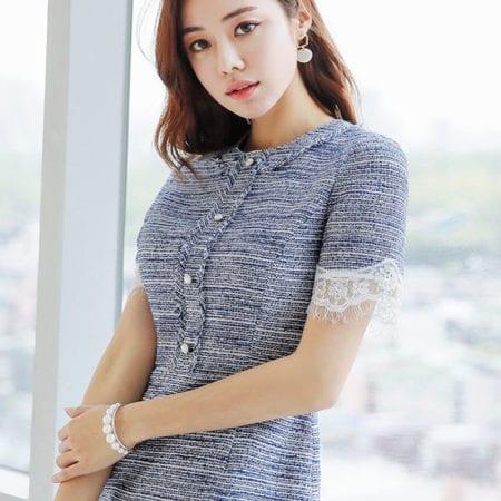Đầm tweed suông tay ngắn phối ren - F1006DS - Ảnh 2