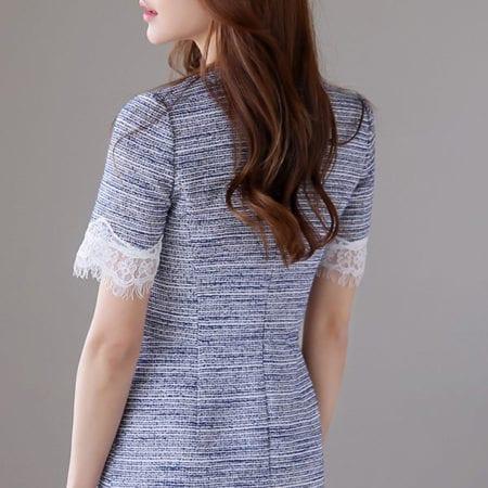 Đầm tweed suông tay ngắn phối ren - F1006DS - Ảnh 4
