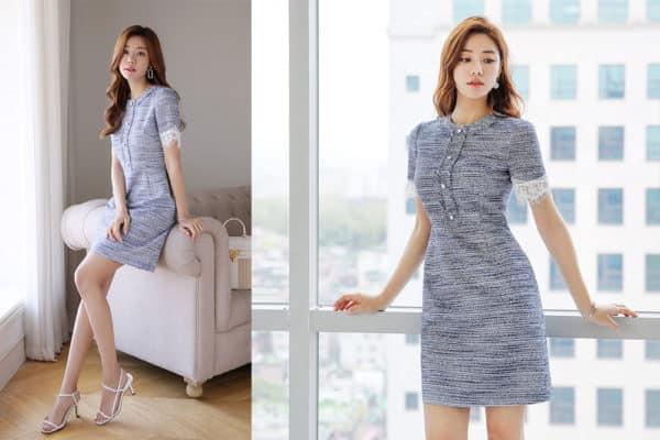 Đầm tweed suông tay ngắn phối ren - F1006DS - Ảnh 5