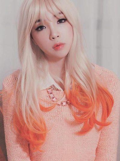 Tóc vàng highlight cam quyến rũ