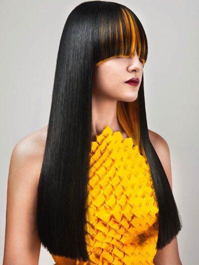 Tóc đen highlight vàng sáng cực nổi bật trước trán