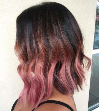 Tóc đen highlight hồng cam cho cô nàng da tối màu