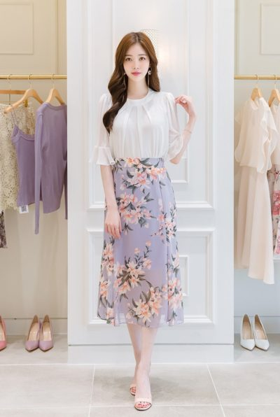 Áo voan xếp li tay loe + Váy hoa voan dài