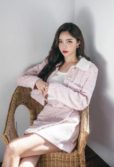 Tweed!! Set thời trang họa tiết tam giác nhỏ nổi bật vóc dáng