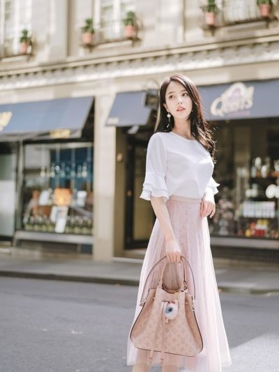 Áo voan + váy voan dáng dài