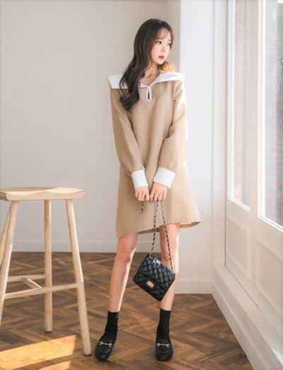 Đầm thun tay dài oversize