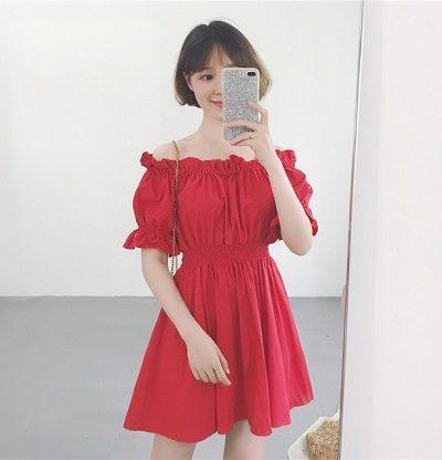 Đầm đỏ nhún thun hở vai quyến rũ
