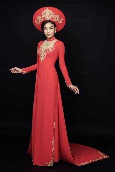 Áo dài cưới cách tân màu đỏ vẻ đẹp hiện đại