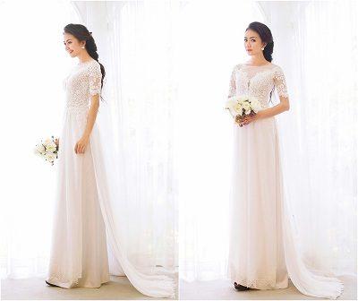 Áo dài cưới ren tay ngắn quyến rũ trong từng họa tiết