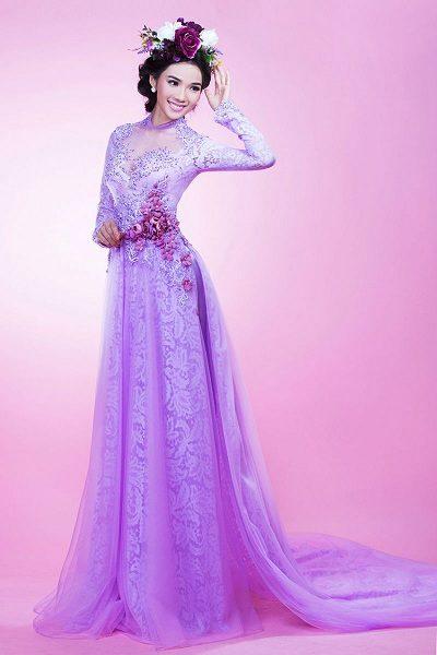 Áo dài cưới màu tím lãng mạn nét đẹp truyền thống