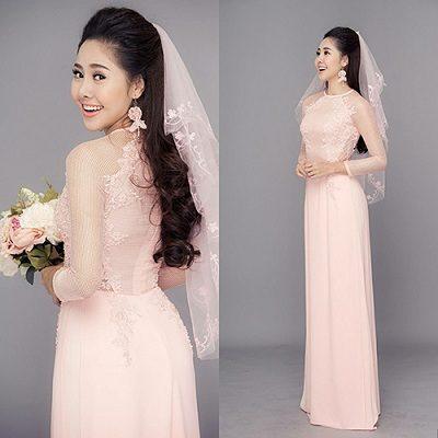 Áo dài cưới màu pastel ngọt ngào