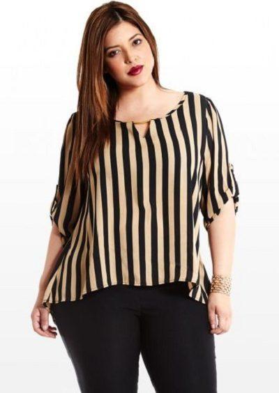 Phối đồ cho người béo nên chọn áo quần sọc dọc