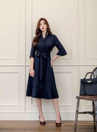 Váy dáng dài, nhấn ở eo nữ CEO hay diện