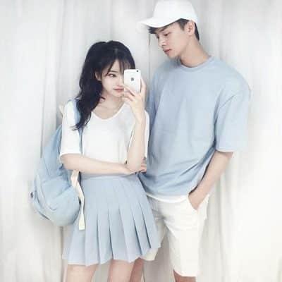Trở thành cặp đôi dễ thương với tông màu xanh biển và trắng