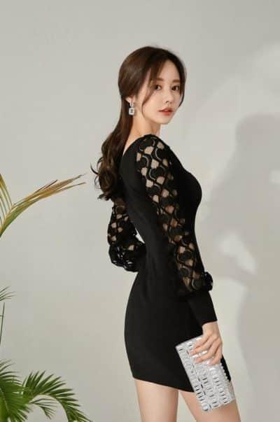 Đầm body ngắn màu đen