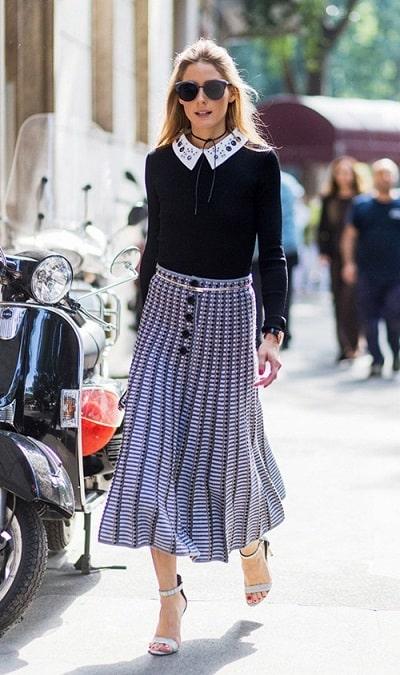 Váy midi phù hợp tuyệt đối với phong cách nữ tính của Olivia Palermo