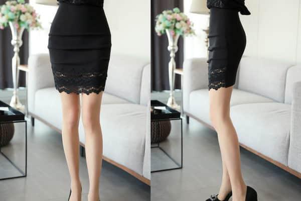 Chân váy body xếp tầng phối ren - F1011CVN - Ảnh 5