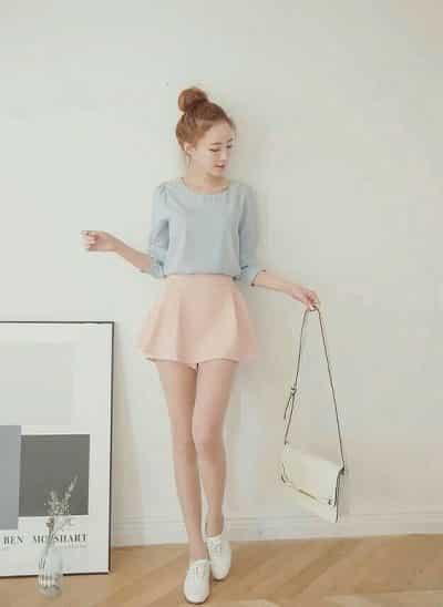 Set áo cổ tròn quần giả váy màu pastel