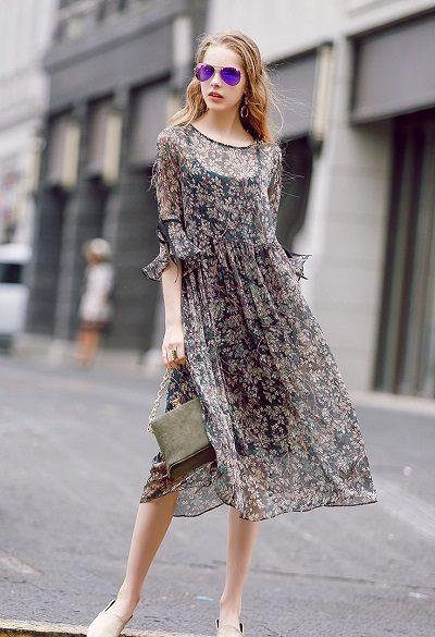 Đầm voan họa tiết hoa nhí cho mùa thu