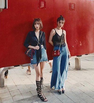 Phong cách Streetwear: Áo bra tua rua mix jeans ống thụng