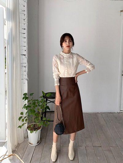 Chân váy da dáng dài - Ảnh 1 - 4 Mẫu chân váy dài duyên dáng cho nữ công sở