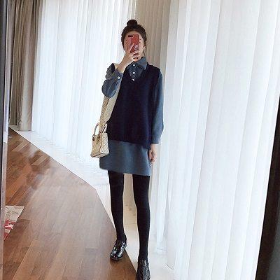 Phối áo gile với váy suông- Ảnh 2 - Cách mặc đồ cho người béo bụng trở nên quyến rũ