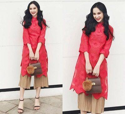 Angela Phương Trinh cũng rất chuộng việc phối áo dài với quần ống rộng.