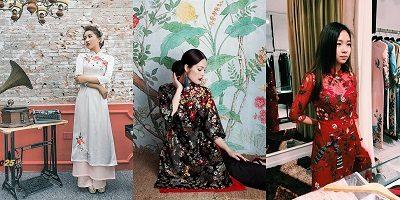 Ngoài các loại vải mềm (trái), gấm (giữa) thì ren và voan cũng được các nhà thiết kế ưu ái trong việc tạo ra những mẫu áo mới lạ.