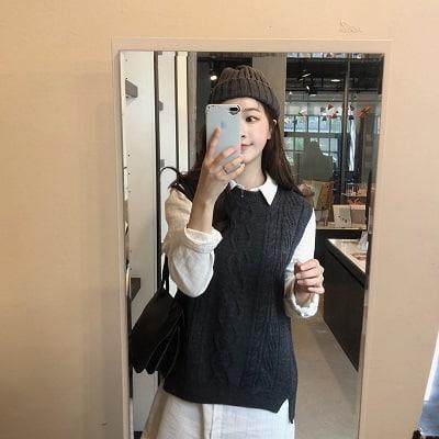 Mặc đồ đi Đà Lạt mùa thu - Công thức 1: Áo sơ mi + áo len gile