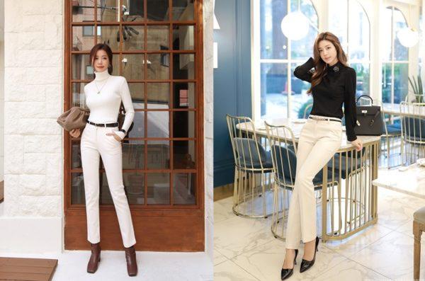 Công thức mix quần trắng hoàn hảo cho nữ công sở